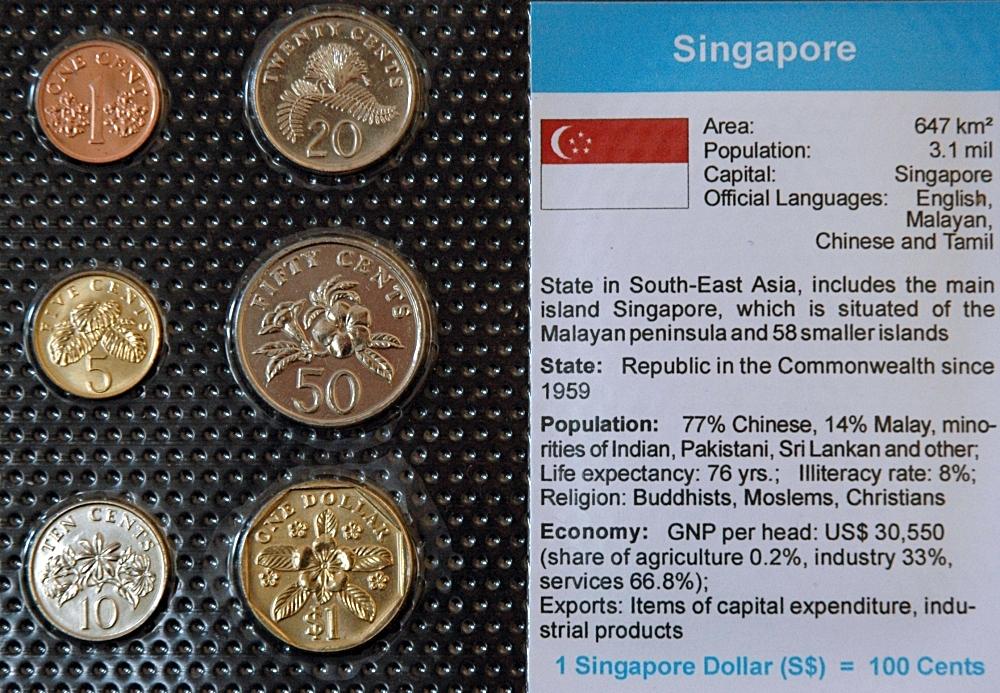 Singapur 1 Cent 1 Dollar 6 Münzen Wkms Englisch Münzwelttv
