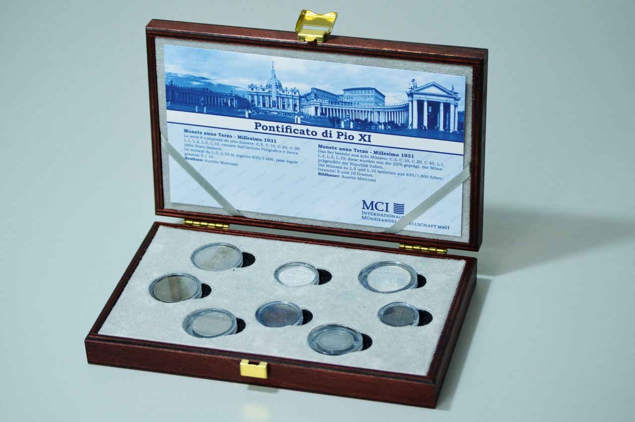 Kms Vatikan 1931 Papst Pius Xi Anno Iii 8 Münzen 5 Centesimi