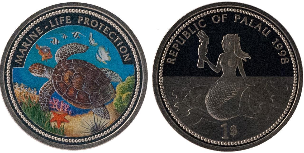 1 Dollar Palau 1998 Quot Marine Life Protection Sea Turtle
