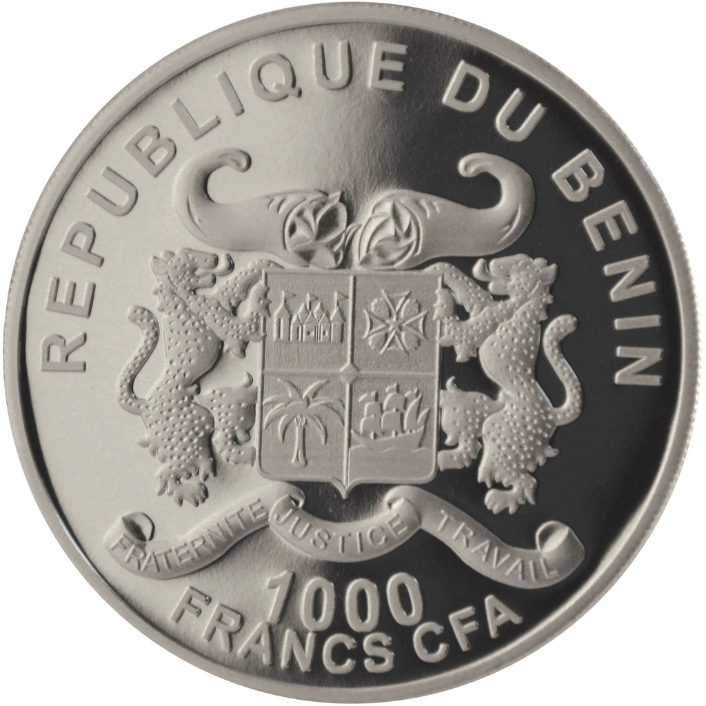 1 000 Francs Cfa Benin 2015 Silverline Elephant 1 Ounce