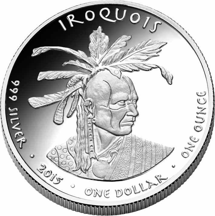 1 Dollar Montana Crow 2015 Wolf 1 Ounce Fine Silver 0