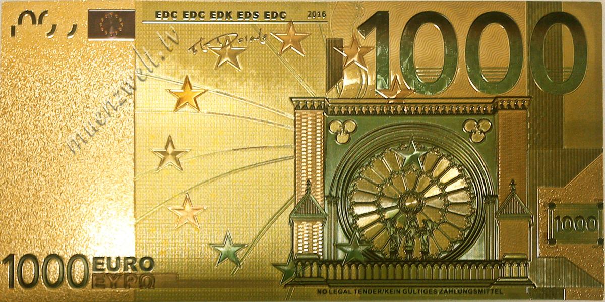 1 000 euro fantasy banknote in gold design colored. Black Bedroom Furniture Sets. Home Design Ideas