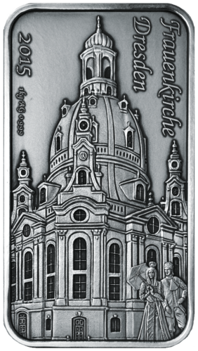 "50 NZ-Dollar Niue 2015 - ""Frauenkirche Dresden"" - 1 KG Feinsilber 0.999 antique finish"