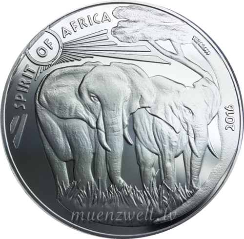 1.000 Francs CFA Burkina Faso 2016 Spirit of Africa® III - Elefant - 1 oz Silber 0.999