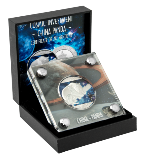 10 Yuan China 2016 Cosmic Investment - Panda - 30 gr AG  coloriert mit Meteorit