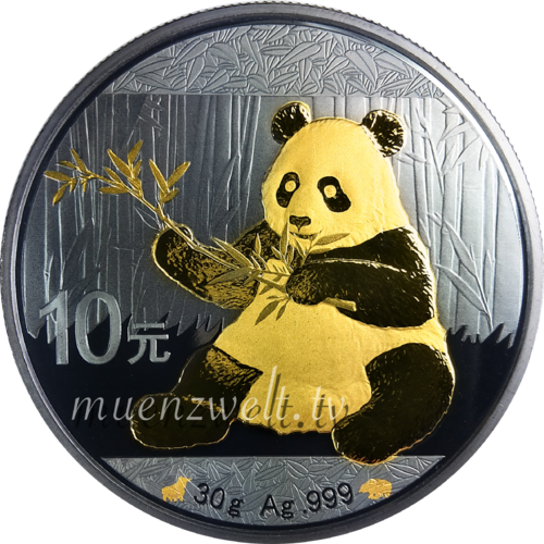 "10 Yuan China 2017 ""Panda"", 30 gr Silber Bull and Bear - Black Line"