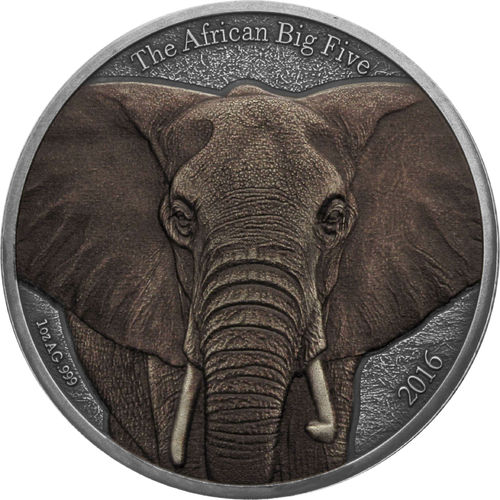 "1.000 Francs Burkina Faso 2016 ""African Big Five - Elefant"", 1 Unze Feinsilber 0.999 coloriert"