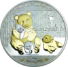 1.000 Frcs Burkina Faso 2016 - Giant Panda - World Stars Silver Investment, 24 k teilvergoldet