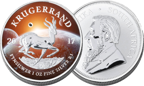 "1 Rand South Africa 2017 ""Cosmic Investment - Krugerrand - Springbok"" , 1 oz AG with meteorite"