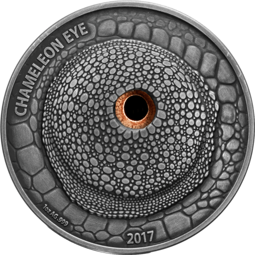 "1.000 Frcs CFA Burkina Faso 2017 ""Chameleon"", 1 ounce fine silver with Real Eye Effect"