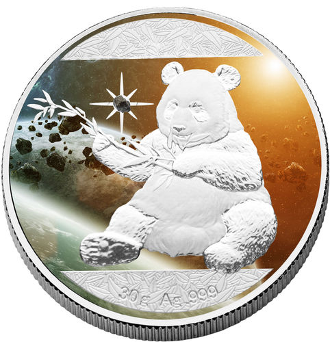 "10 Yuan China 2017 ""Cosmic Investment Panda"", 30 g AG colored with meteorite"