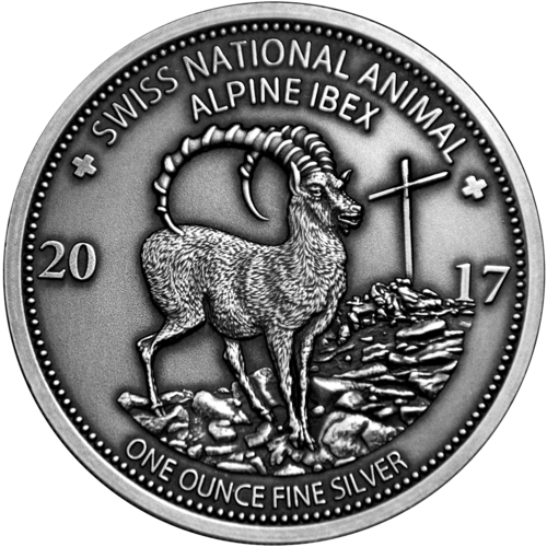 "1.000 Francs CFA Burkina Faso 2017 ""Schweizer Nationaltier - Alpensteinbock"" 1oz Silber 0.999"