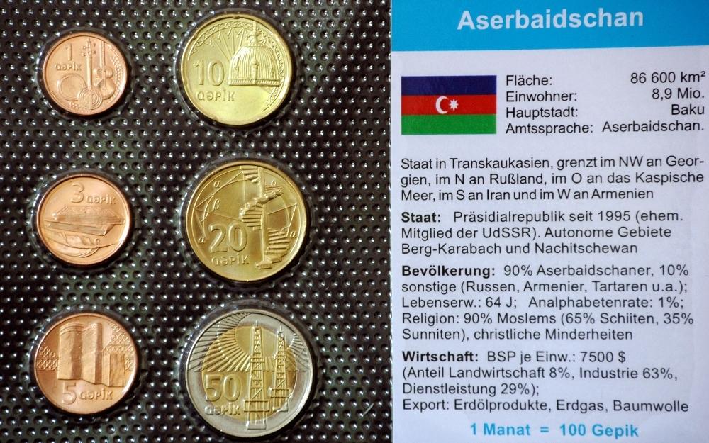 Aserbaidschan 1 50 Qapik 6 Münzen Wkms Deutsch Muenzwelttv