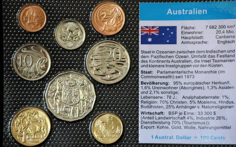 Australien 1 Cent 2 Dollar 8 Münzen Wkms Deutsch Muenzwelttv