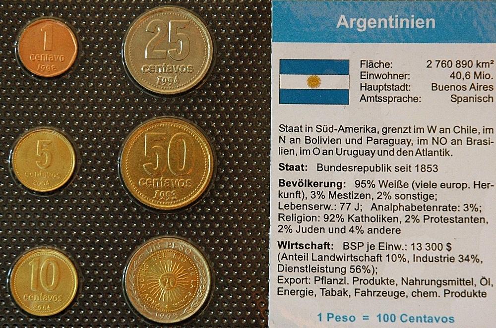 Argentinien 1 Centavos 1 Peso 6 Münzen Wkms Deutsch Muenzwelttv