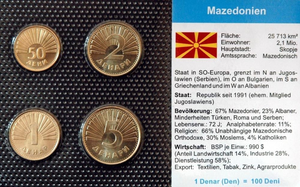 Mazedonien 50 Deni 5 Denari 4 Münzen Wkms Deutsch Muenzwelttv