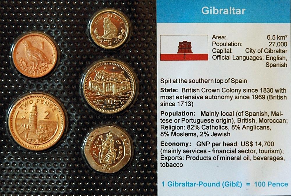 Gibraltar 1 20 Pence 5 Münzen Wkms Englisch Muenzwelttv