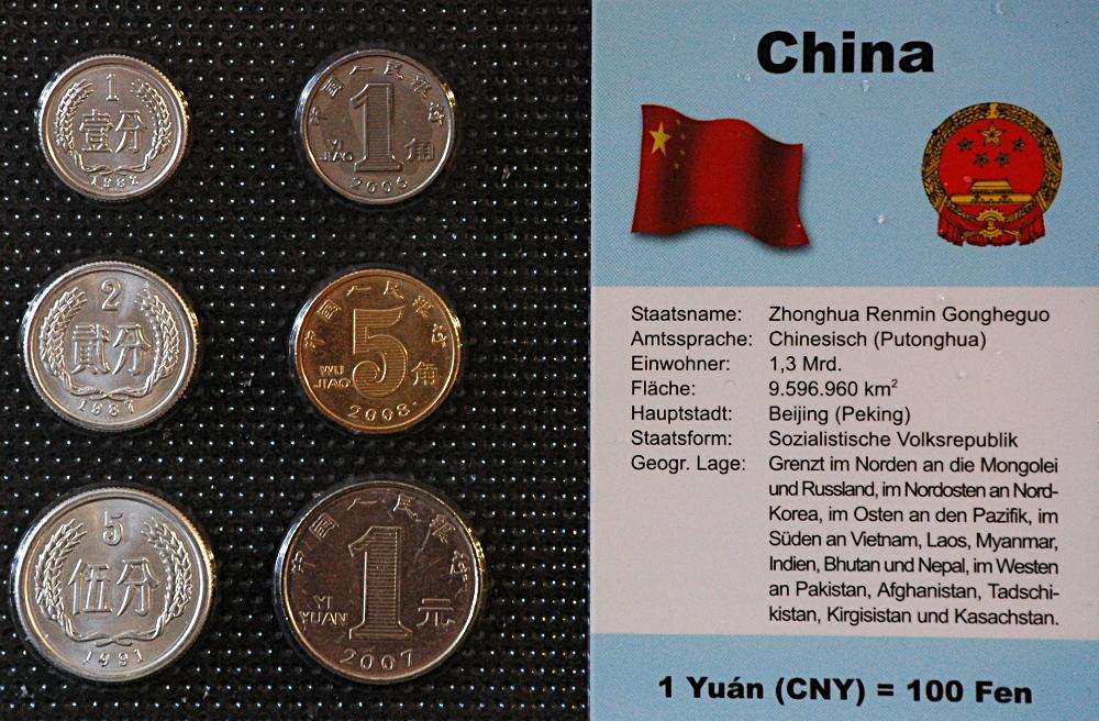 China 1 Fen 1 Yuan 6 Münzen Wkmsn Deutsch Muenzwelttv