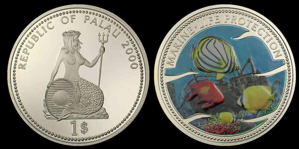 1 Dollar Palau 2000 Marine Life Protection Schiffswrack Münze