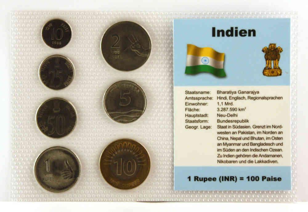 Indien 10 Paise 10 Rupien 7 Münzen Wkms Deutsch