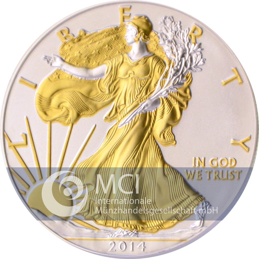 1 Dollar America 2014 American Eagle 1 Oz Silver Bull