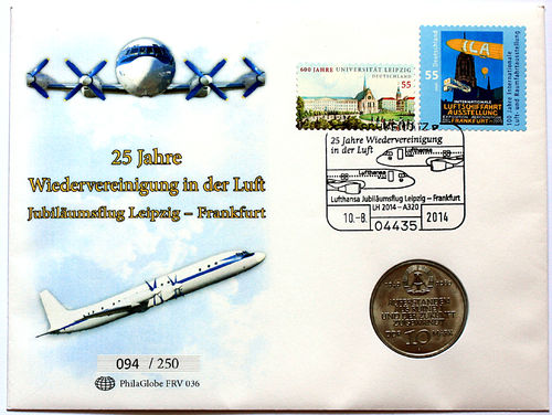 PhilaGlobe FRV 036 Numisletter Reunion in the Air Germany 10.08.2014