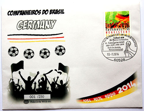 PhilaGlobe WOS 001 First Day Cover Soccer Champion Germany 13.07.2014