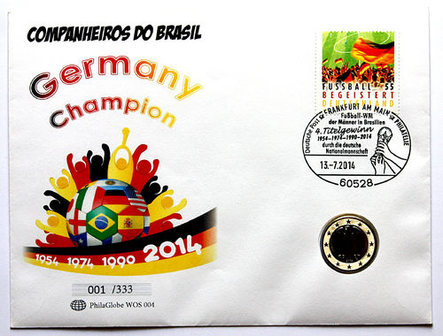 PhilaGlobe WOS 004 Numisletter Soccer Champion Germany 13.07.2014