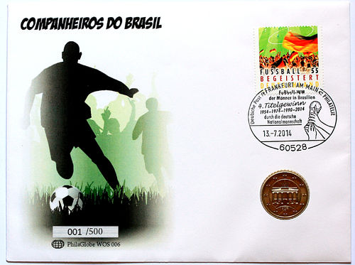 PhilaGlobe WOS 006 Numisletter Soccer Champion Germany 13.07.2014