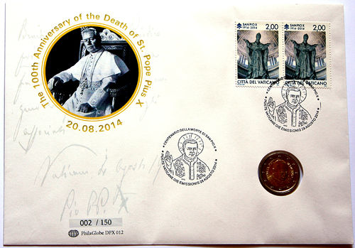 PhilaGlobe DPX 012 Numisletter 100th Day of Death of Pius X. Vatican 28.08.2014