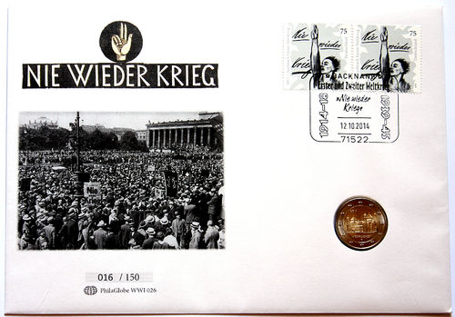 PhilaGlobe WWI 026 Numisletter Never War Again! Germany 12.10.2014