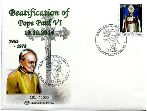 PhilaGlobe BPP 030A First Day Cover Beatification Pope Paul VI Vatican 19.10.2014