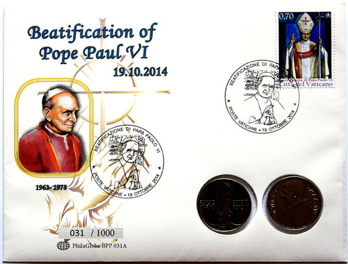 PhilaGlobe BPP 031A Numisletter Beatification Pope Paul VI Vatican 19.10.2014