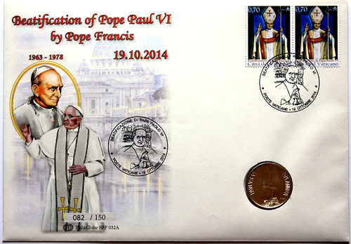 PhilaGlobe BPP 032A Numisletter Beatification Pope Paul VI Vatican 19.10.2014