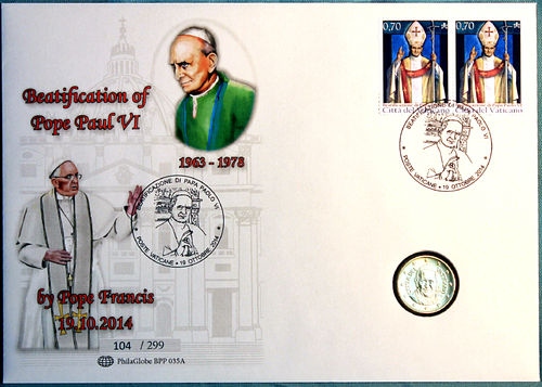 PhilaGlobe BPP 035A Numisletter Beatification Pope Paul VI Vatican 19.10.2014