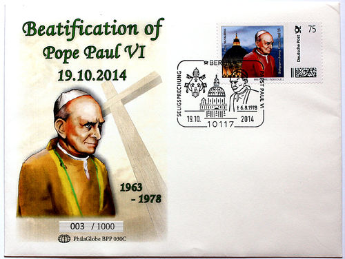 PhilaGlobe BPP 030C First Day Cover Beatification Pope Paul VI Germany 19.10.2014