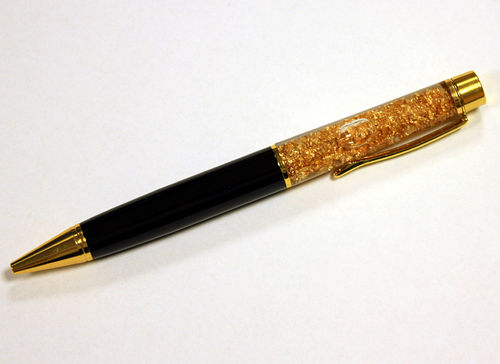 Ballpoint Pen Gold Design, thick, black, with gold foil