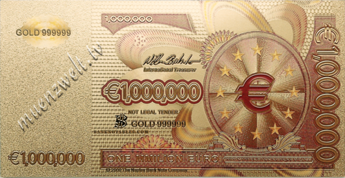 1 Million Euro Fantasiebanknote im Golddesign, coloriert