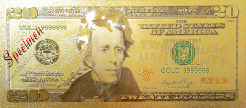 20 US-Dollar Banknotenreplikat im Golddesign, coloriert
