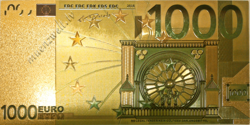 1.000 Euro Fantasiebanknote im Golddesign, coloriert