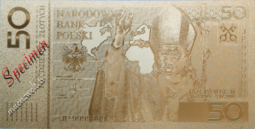 50 Zloty Banknote Replica in Gold Design