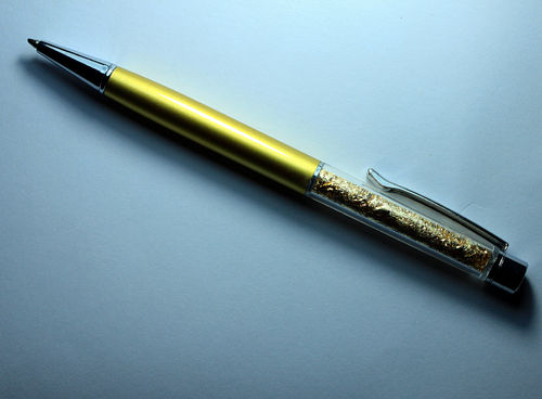 Ballpoint Pen Gold Design, thin, golden colored, with gold foil