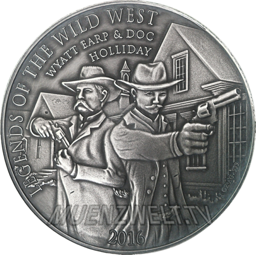 1.000 Francs CFA Burkina Faso 2016 Wyatt Earp & Doc Holliday - 1 oz Feinsilber 0.999 Antique finish