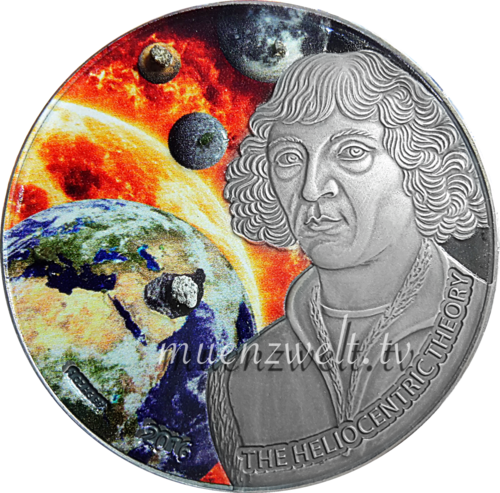 1.000 Frcs CFA Burkina Faso 2016 Nicolaus Copernicus 1 oz AG antique finish colored with meteorites