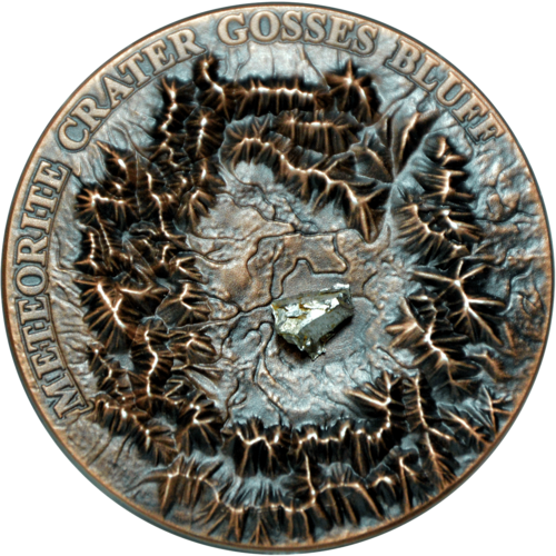 1 Dollar Niue Island 2017 1 ounce Gosses Bluff Crater with Henbury Meteorite