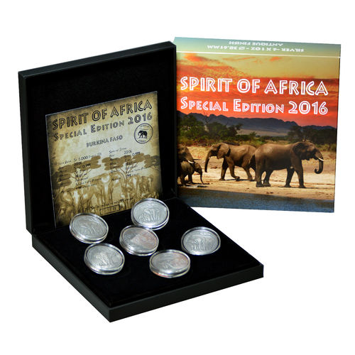 "Burkina Faso 2016 ""Spirit of Africa® - Prestige Set"" - 6 x 1 Unze Feinsilber in Antique finish"