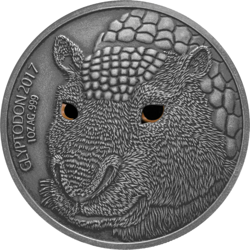1.000 Francs Burkina Faso 2017 Glyptodon - Mutter,1 Unze Feinsilber in Antique finish