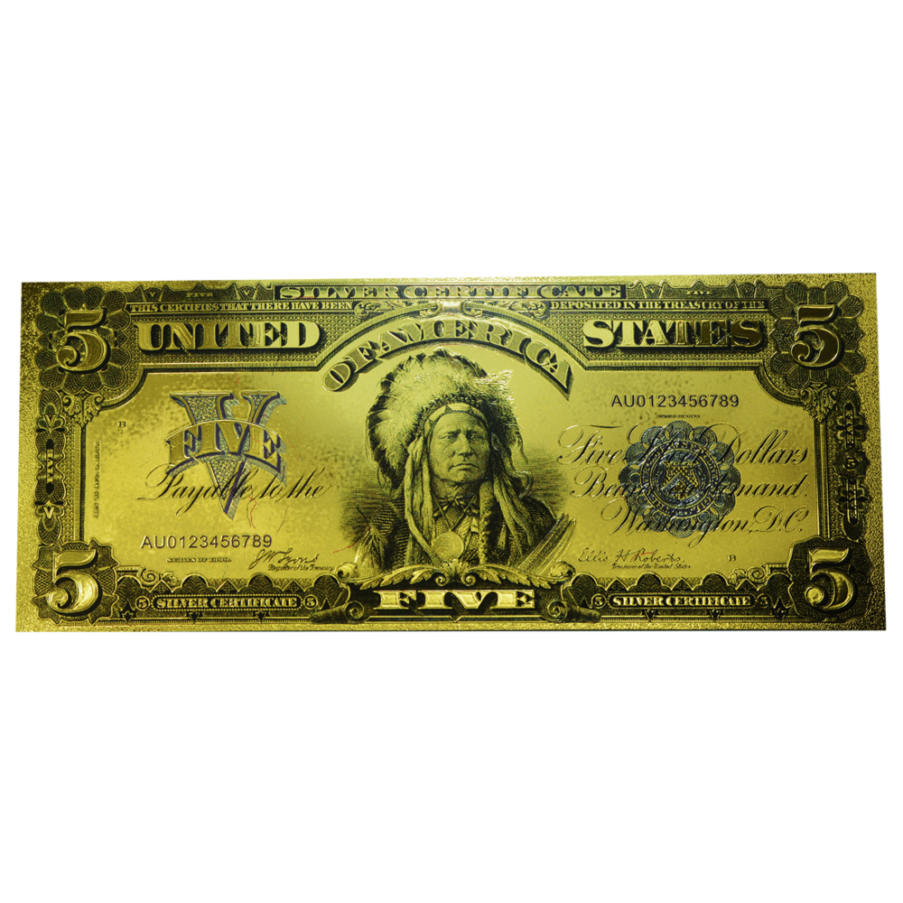 5 Us Dollar Silver Certificate Replica In Gold Design