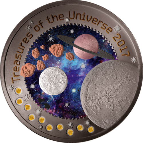 5 Cedis Ghana 2017 Treasures of the Universe 1 oz fine silver refined with 10 Pallamant & 9 metals