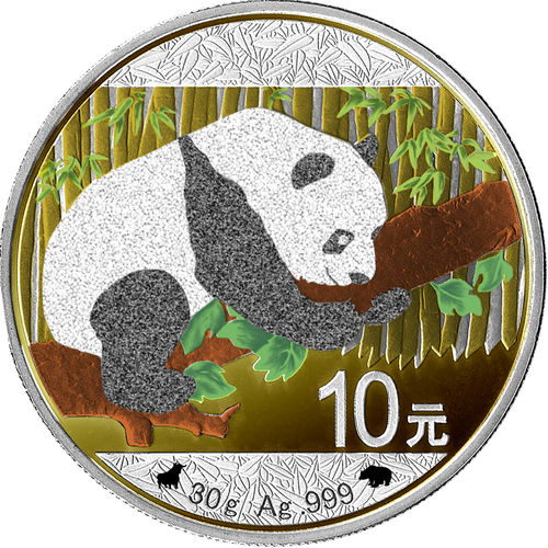 10 Yuan China 2016 Panda1 Oz Silver Bull & Bear Diamond Line